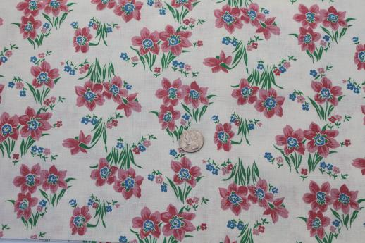 vintage cotton feed sack fabric, pink daffodil flowers, spring daffodils print