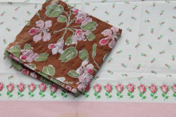 vintage cotton feed sack fabric w/ pink roses prints, floral on brown & rosebud border print