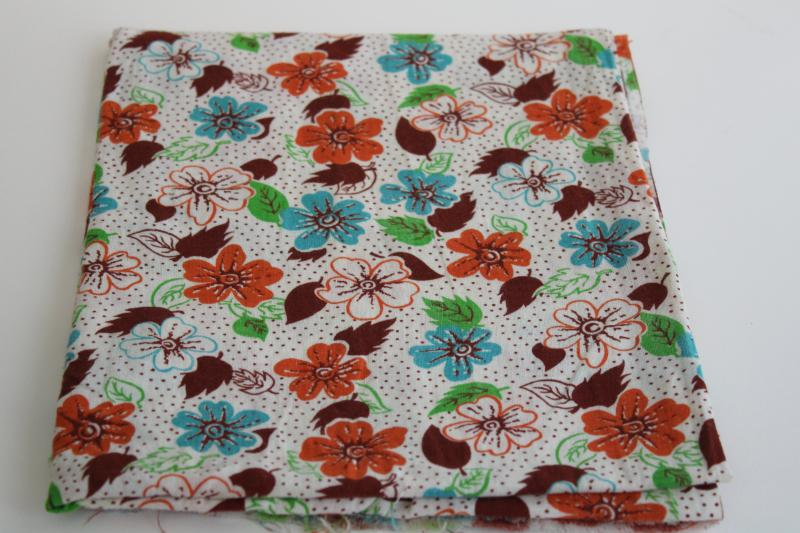 vintage cotton feed sack fabric, print flowers in rust orange, turquoise, green