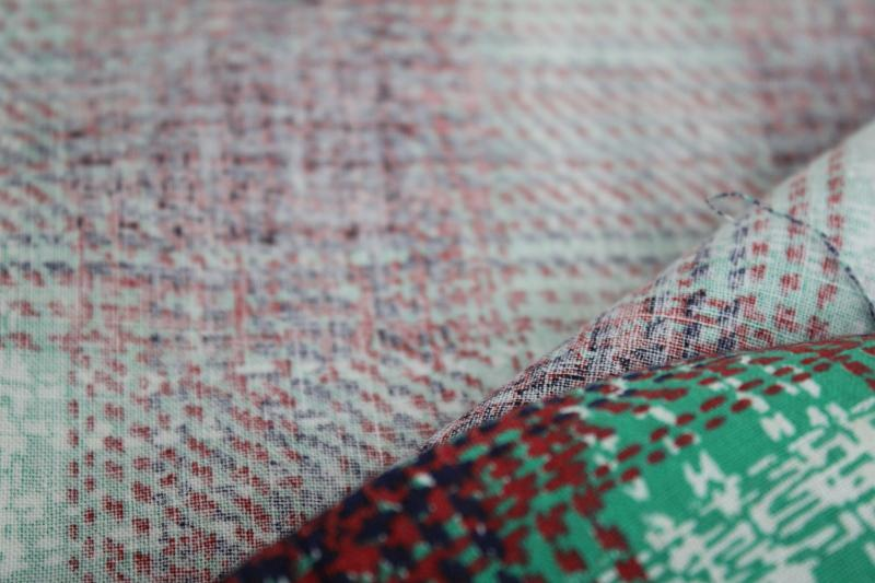 vintage cotton feed sack fabric, print plaid in barn red, green, navy blue