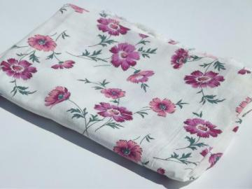 vintage cotton feed sack fabric, purple asters floral print