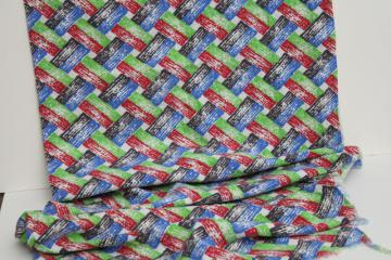 vintage cotton feed sack fabric, red green blue basket weave print