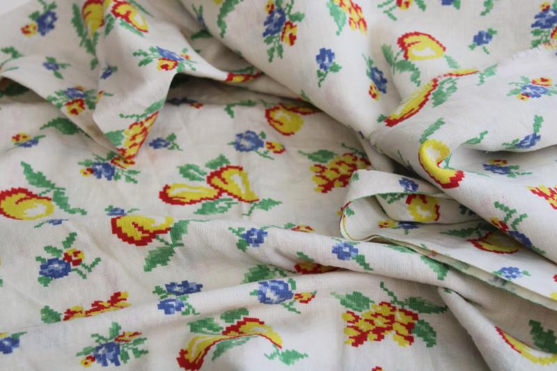 vintage cotton feed sack fabric, retro fruit print yellow red blue green