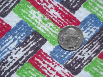 vintage cotton feed sack fabric, retro jade green, red & blue print