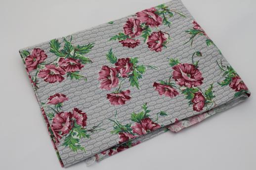 vintage cotton feed sack fabric, rose-pink poppies floral print on grey