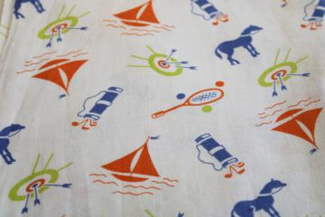 vintage cotton feed sack fabric, sporting life print golf, horses, archery, sailboats