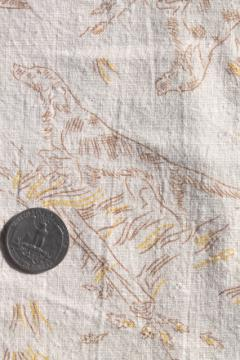 vintage cotton feed sack fabric w/ sporting print, hunting dog spaniels