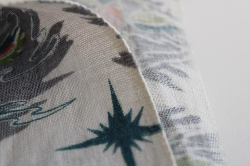 vintage cotton feed sack fabric, starry sky desert flowers & succulents