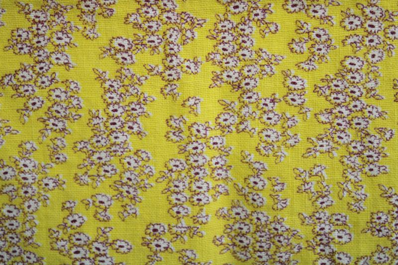 vintage cotton feed sack fabric, tiny floral print flowers on golden yellow