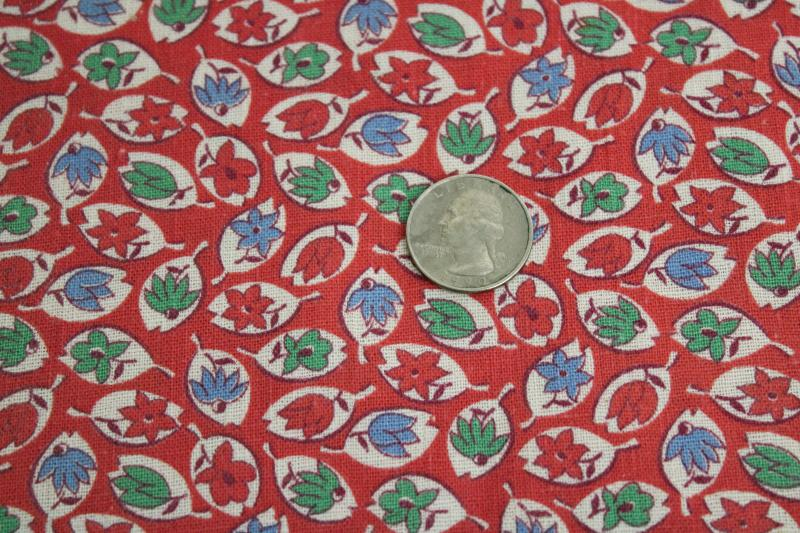 vintage cotton feed sack fabric, tiny print leaves in blue & green on red