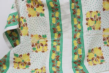vintage cotton feed sack fabric, whole sack green & yellow fruit print w/ dots