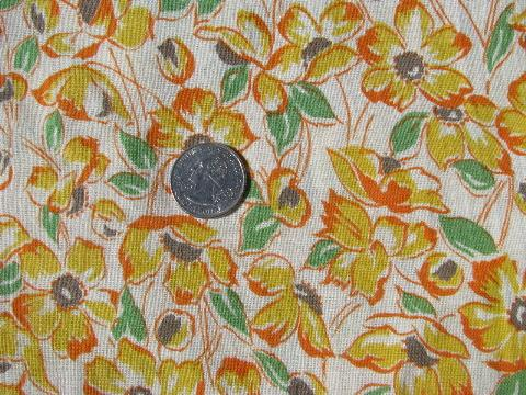 vintage cotton feed sack fabric, yellow flowers print feedsack