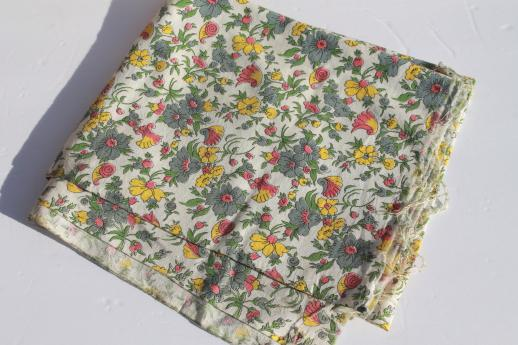 vintage cotton feed sack w/ grey, pink, yellow flowers, retro floral print fabric