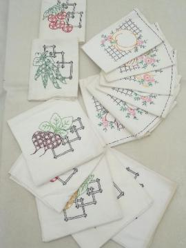 vintage cotton feed sack kitchen kitchen towels w/ hand-embroidered fruit