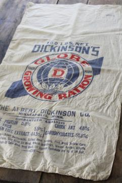 vintage cotton feed sack w/ red blue Globe ad graphics, growing ration chicken mash