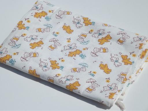 vintage cotton feedsack, baby print dancing bears novelty fabric
