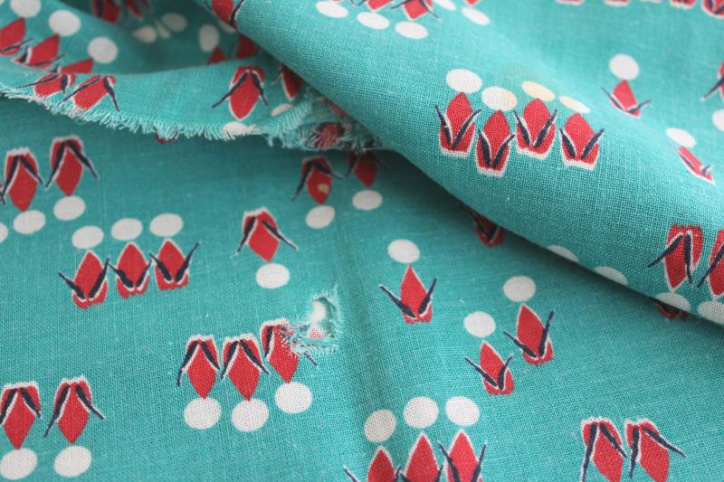 vintage cotton feedsack fabric, abstract people print jade green w/ red & white