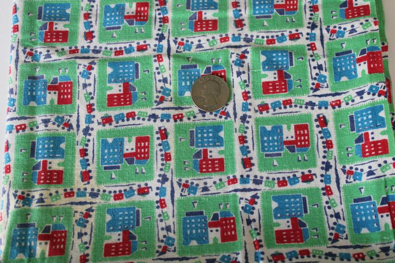 vintage cotton feedsack fabric w/ cottage style print, row houses on jadite green