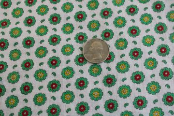 vintage cotton feedsack fabric, green & red flowers tiny print, nice for holiday sewing