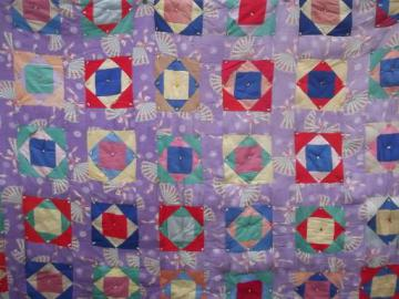 vintage cotton feedsack fabric patchwork quilt tied comforter, 40s or 50s