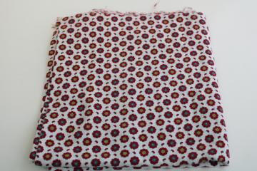 vintage cotton feedsack fabric, red & green flowers tiny print, nice for holiday sewing