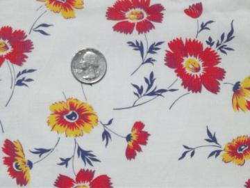 vintage cotton feedsack fabric, red & yellow floral print 1940s or 50s