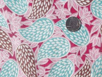 vintage cotton feedsack fabric, retro pink and aqua print on deep magenta