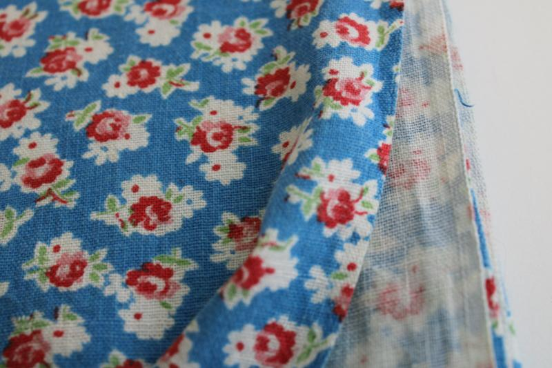 vintage cotton feedsack fabric, sky blue with red & pink roses floral tiny print