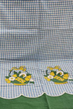 vintage cotton feedsack fabric, spring flower basket border blue gingham print