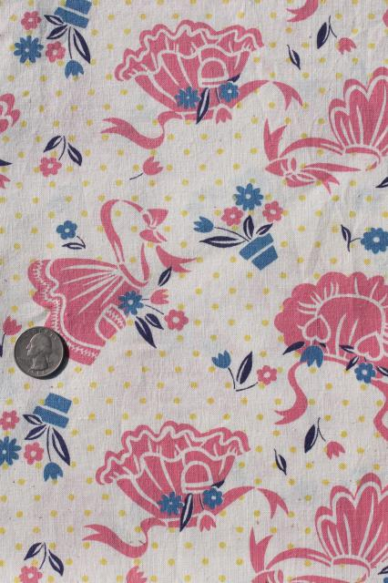 vintage cotton feedsack fabric, whole feed sack w/ pink aprons print