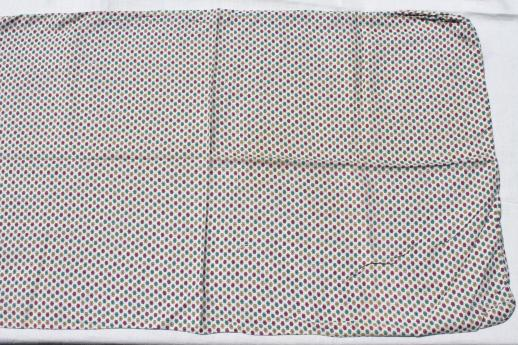 vintage cotton feedsacks w/ chain stitching, matching prints for quilting fabric or pillowcases