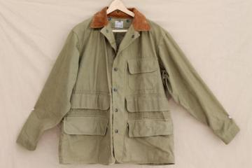 vintage cotton field coat, 40s 50s Hinson label hunting / fishing jacket w/ game pocket