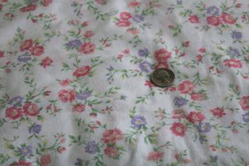 vintage cotton flannel fabric w/ granny chic flowered print, lavender & pink floral
