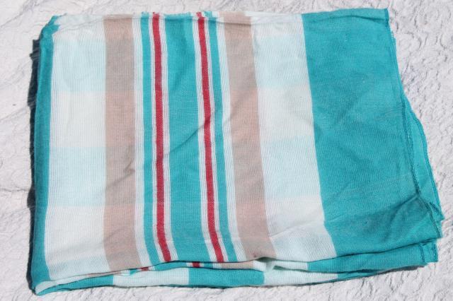 vintage cotton flannel sheet blanket summer weight camp blanket aqua blue u0026 red stripes