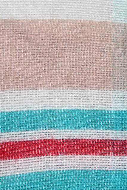 vintage cotton flannel sheet blanket, summer weight camp blanket aqua blue & red stripes