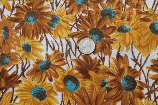 Vintage cotton floral fabric daisy print with yellow gold vintage cotton floral fabric daisy print with yellow gold turquoise flowers mightylinksfo
