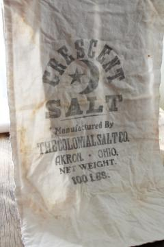 vintage cotton flour sack fabric, printed Crescent Colonial Salt Akron Ohio
