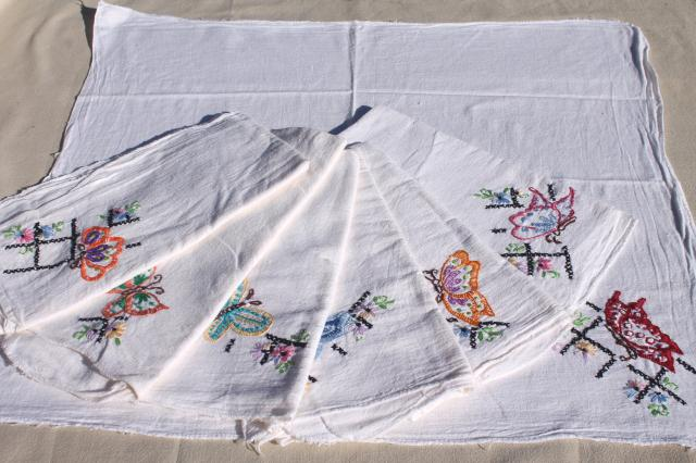 vintage cotton flour sack towels w/ embroidered butterflies, hand stitched embroidery