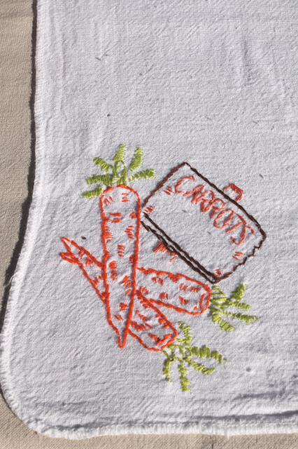 vintage cotton flour sack towels w/ embroidered garden vegetables, hand stitched embroidery