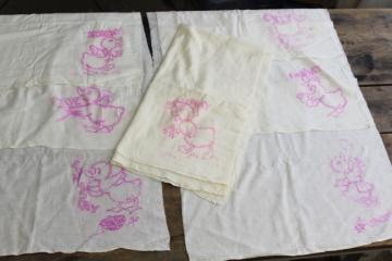 vintage cotton flour sack towels to embroider, Days of the Week ducks kitchen chores