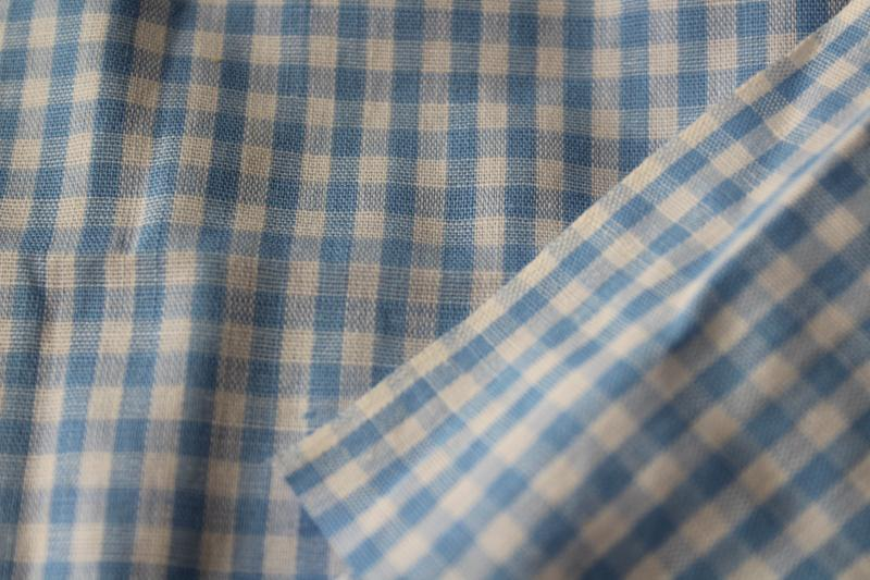vintage cotton gingham in Dorothy blue & white, 2 yards+ 36 wide fabric