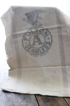 vintage cotton grain sack, blue / brown stripe feed bag primitive antique fabric