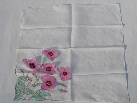 vintage cotton hankie, sheer organza flowers