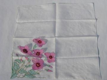 vintage cotton hankie, sheer organza flowers