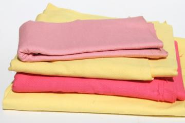 vintage cotton huck towel fabric, kitchen towel fabric in retro candy pink & yellow
