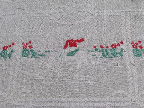 vintage cotton jacquard bedspread, southwest cowboys, horses and cows