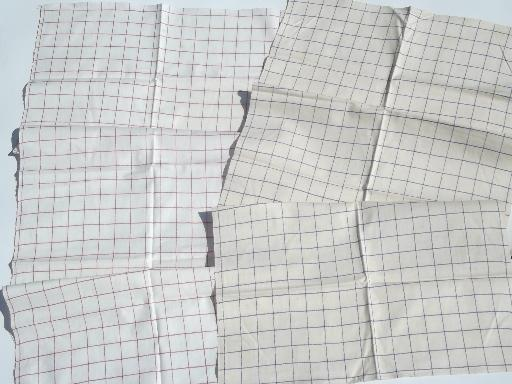 vintage cotton kitchen towels, blue checked & red checked toweling fabric