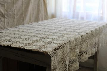 vintage cotton lace tablecloth, handmade crochet lace granny chic bohemian style