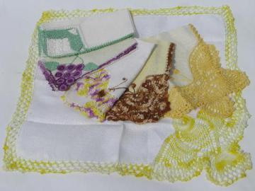 vintage cotton & linen hankies w/ crocheted lace butterflies & canary