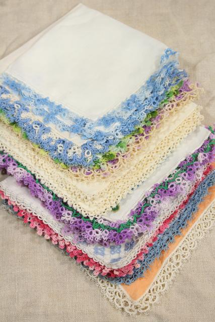 vintage cotton linen hankies, handkerchiefs w/ handmade lace tatting, tatted edging